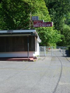 An abandoned ice cream shop by Forest Park. Portland, OR