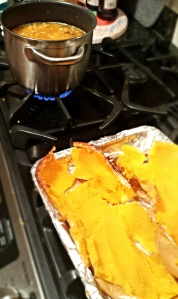 Scooped out squash and soup on the stove (before the blender)