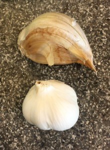 "One clove of elephant garlic vs a whole head of ""regular"" garlic"