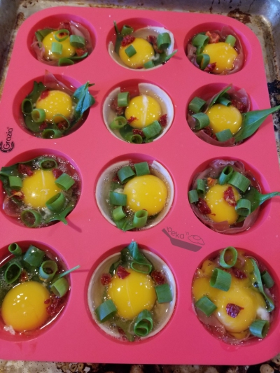 A red silicone muffin tray filled with meaty egg cups before they go into the oven. The eggs are raw and you can see sliced scallion and sun dried tomato pieces as well as a piece of lunch meat around the inner edge of each muffin mold. The egg on the bottom right has a broken yolk which I was very upset about.