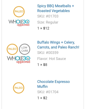 A screenshot of my first order indicating which meals are paleo and/or whole30 and the cost.